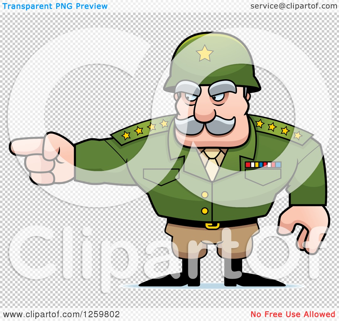 Clipart of a Caucasian Army General Man Pointing - Royalty Free ...