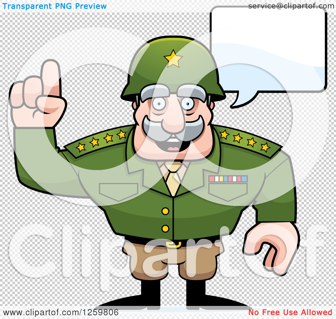 Clipart of a Caucasian Army General Man Talking - Royalty Free ...