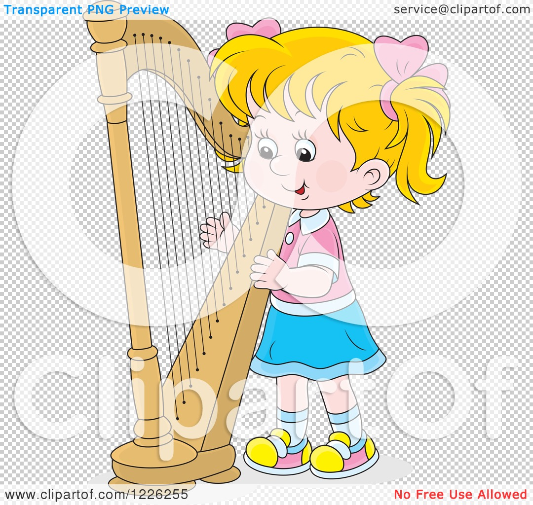 Clipart of a Caucasian Girl Playing a Harp - Royalty Free Vector ...