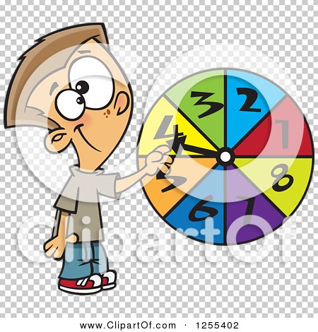 Clipart of a Caucasian School Boy Spinning a Probability Wheel ...
