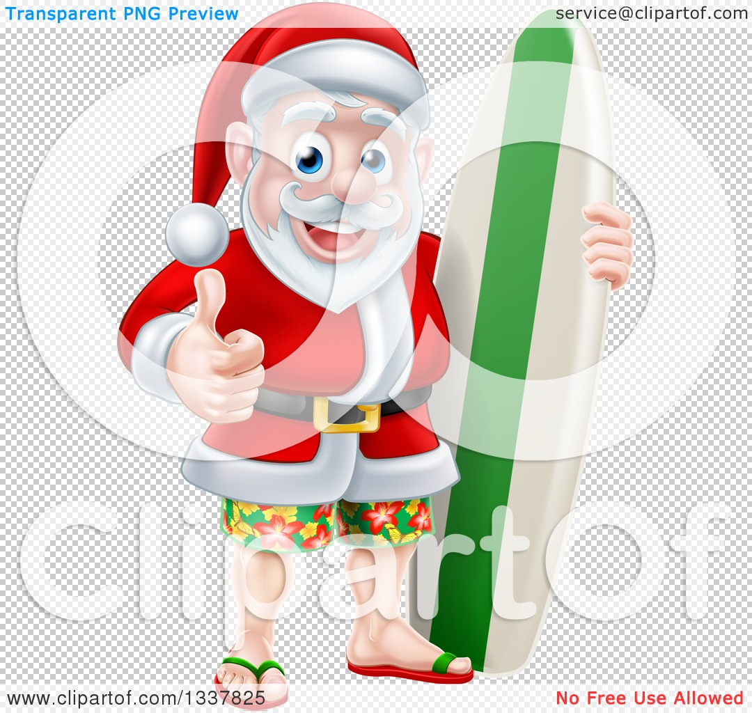 Clipart of a Christmas Santa Claus Giving a Thumb up and Standing ...