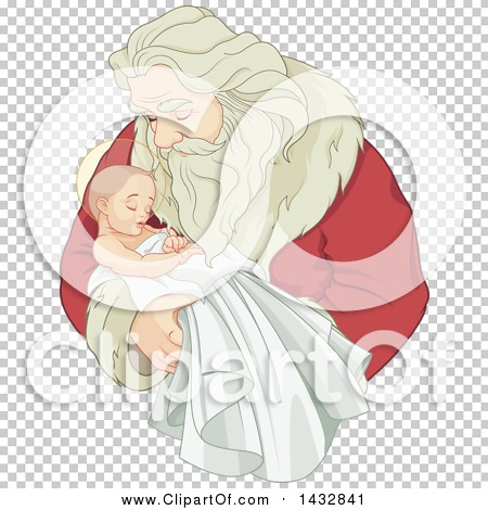 Clipart of a Christmas Santa Claus Holding Baby Jesus - Royalty ...