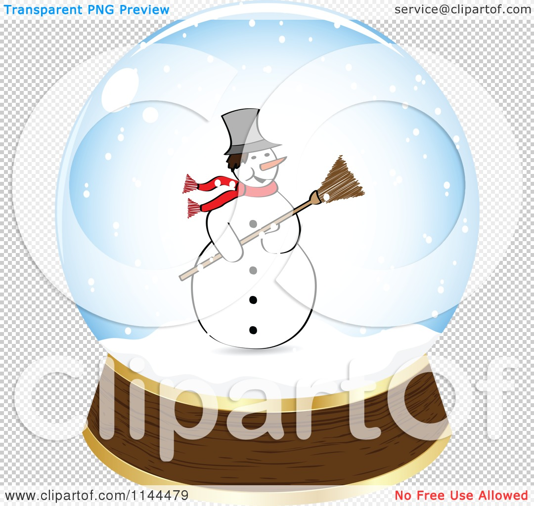 Clipart of a Christmas Snowman in a Snow Globe - Royalty Free ...