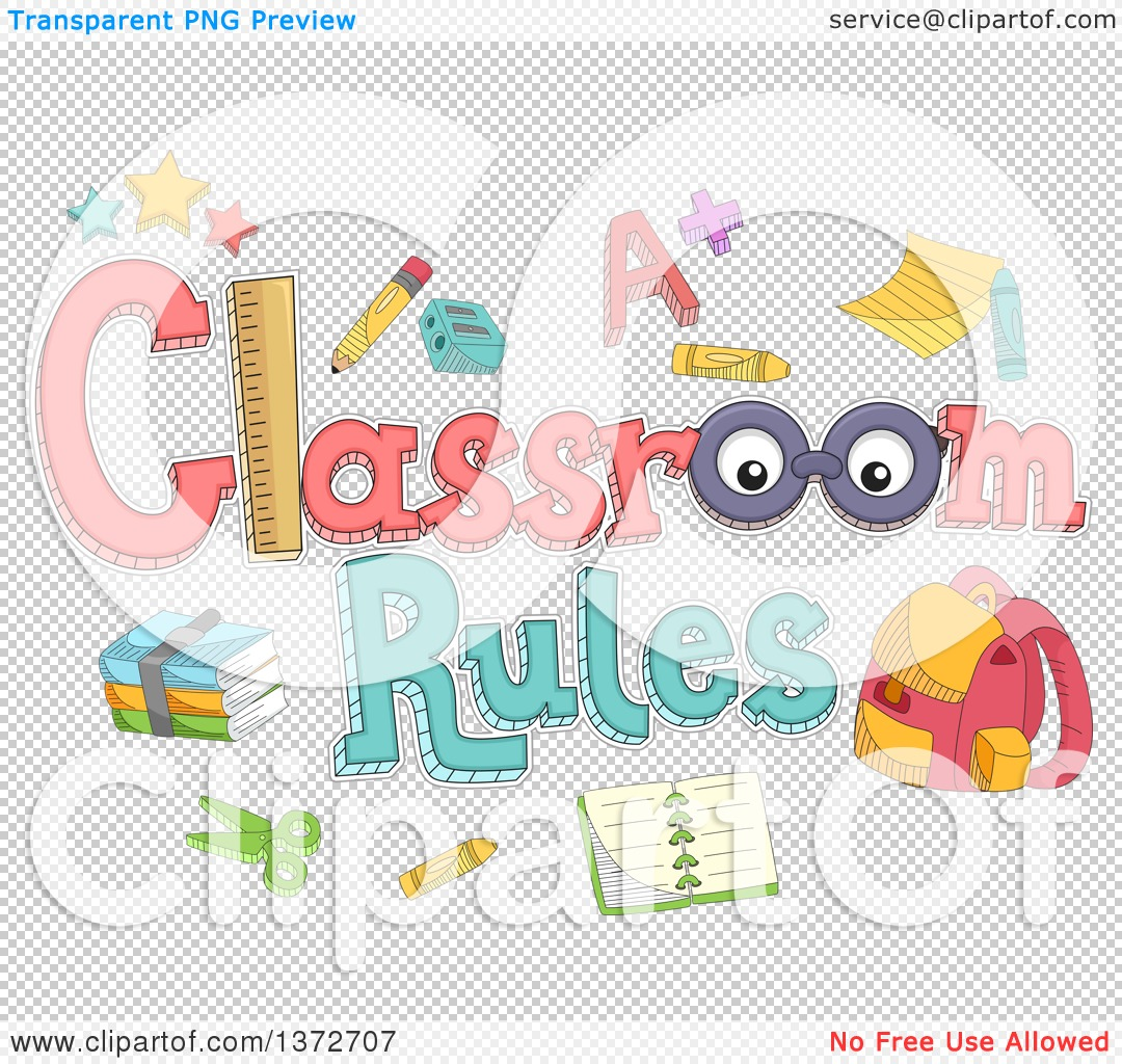 Classroom Layout Clipart : Clipart of a classroom rules design with accessories