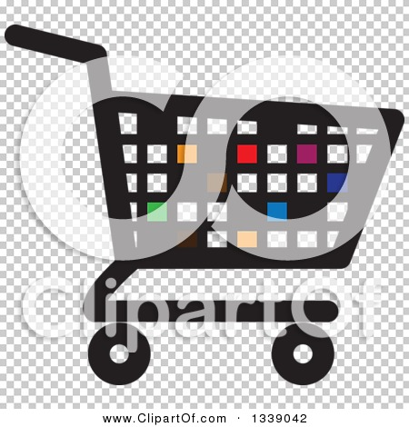 Clipart of a Colorful Pixel or Tile Shopping Cart Retail Icon ...