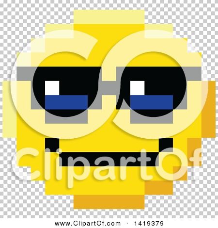 Clipart Of A Cool 8 Bit Video Game Style Emoji Smiley Face Wearing