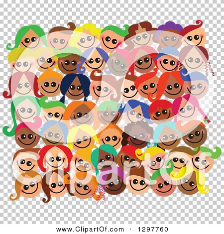Clipart of a Crowd of Diverse Happy Faces of Children - Royalty ...