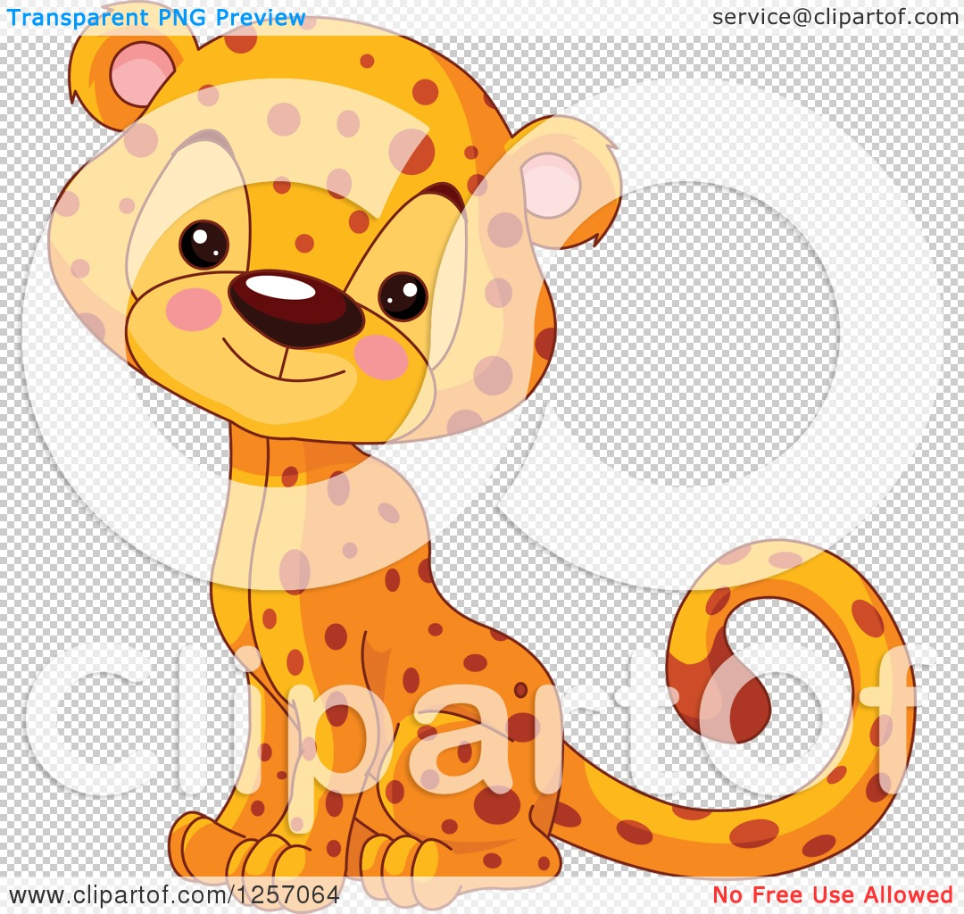 Clipart Of A Cute Baby Cheetah Sitting - Royalty Free ...
