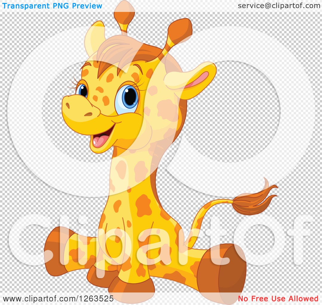 clipart of a cute baby giraffe doing the splits royalty free
