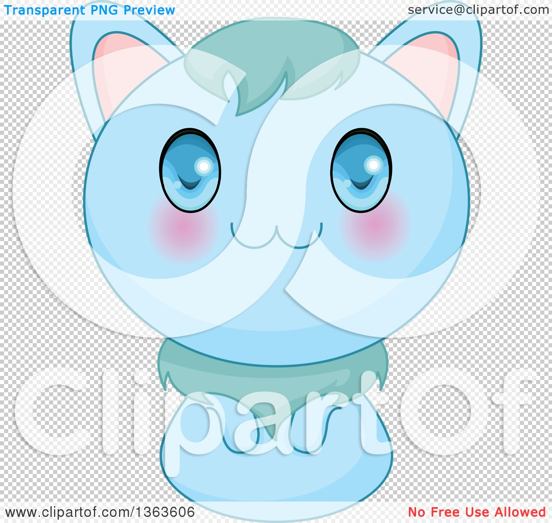Clipart of a Cute Blue Manga Anime Cat - Royalty Free Vector ...