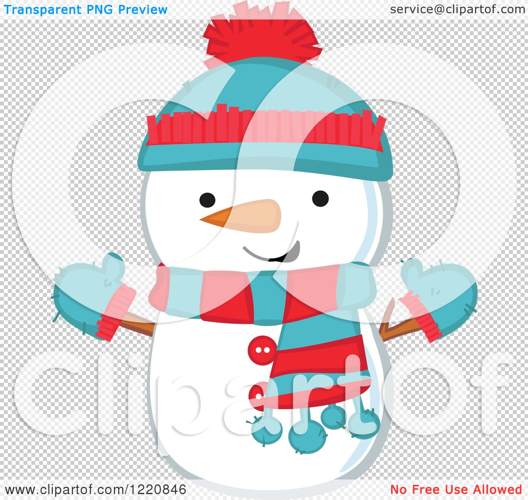 Clipart Of A Cute Christmas Snowman Wearing A Hat Mittens