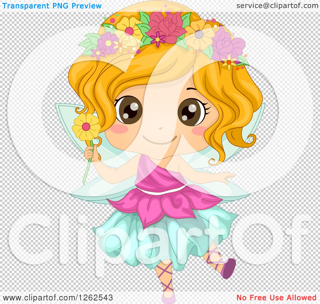 Clipart of a Cute Girl in a Floral Fairy Costume - Royalty Free ...