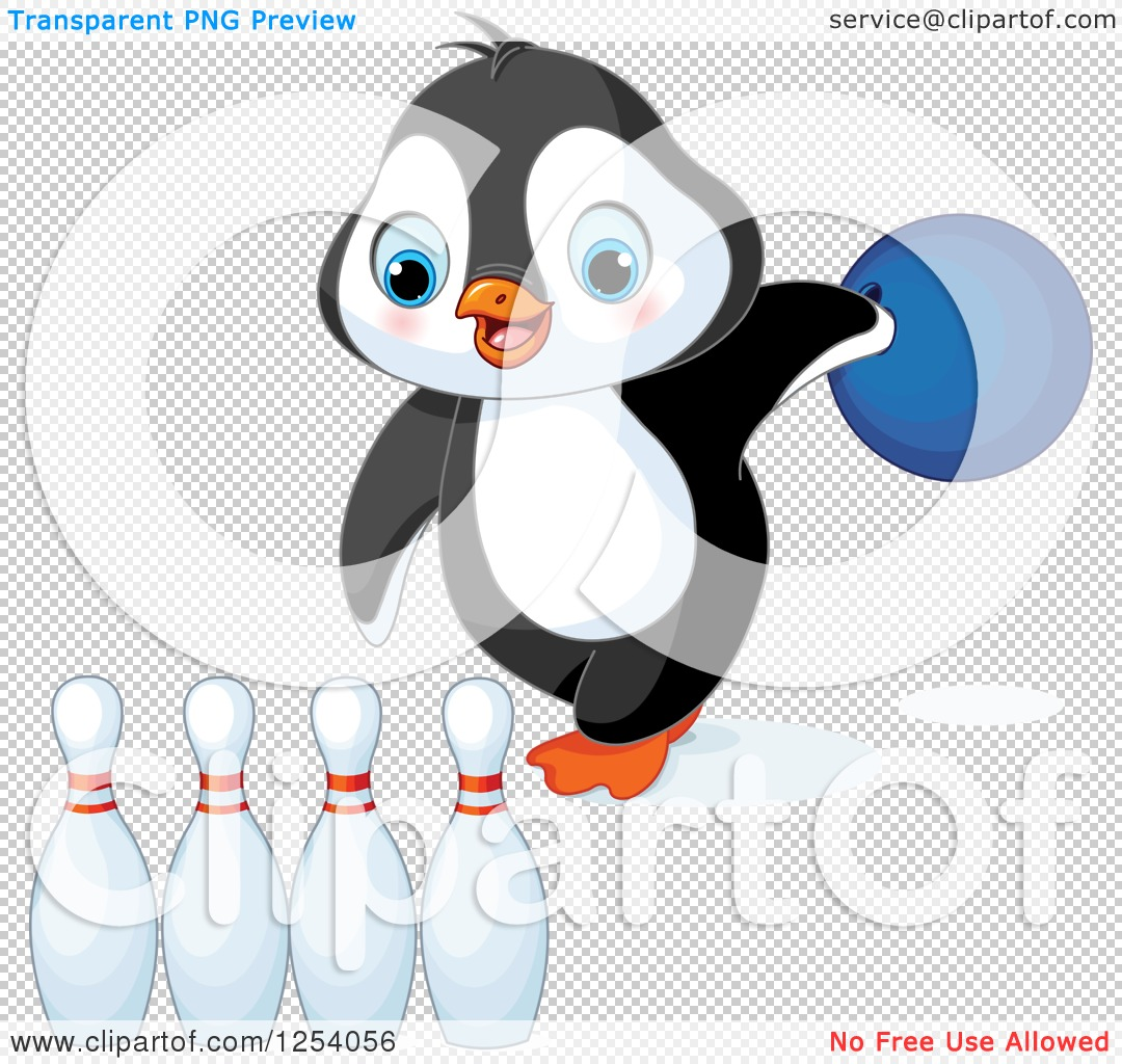 Clipart of a Cute Penguin Bowling - Royalty Free Vector ...