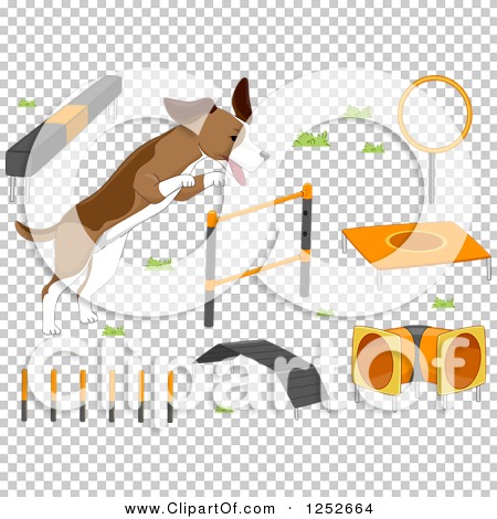 Clipart of a Dog with Agility Course Items - Royalty Free Vector ...