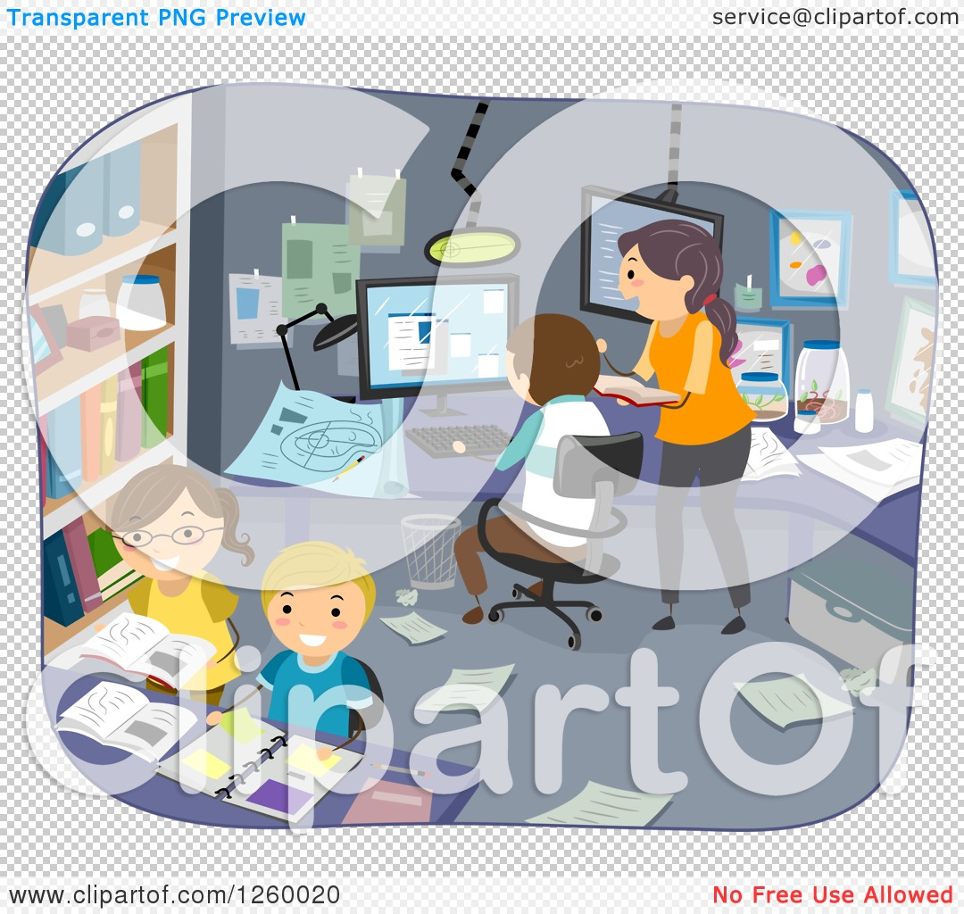 Clipart of a Family Doing Experiments in an Office Room - Royalty ...