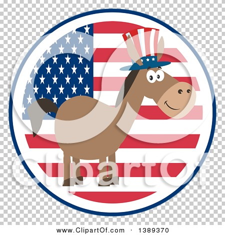 Clipart of a Flat Design Political Democratic Donkey Wearing a ...