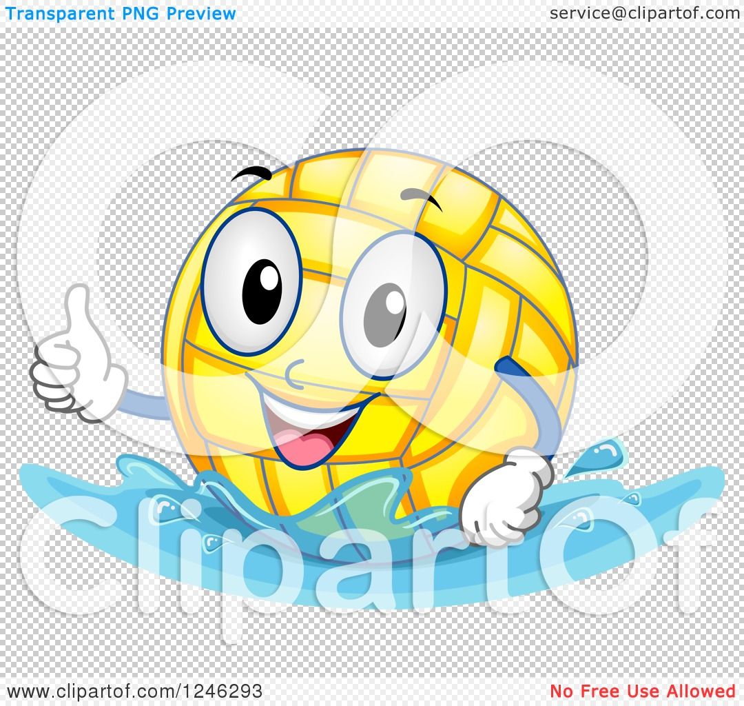 Clipart of a Floating Water Polo Ball Holding a Thumb up - Royalty ...