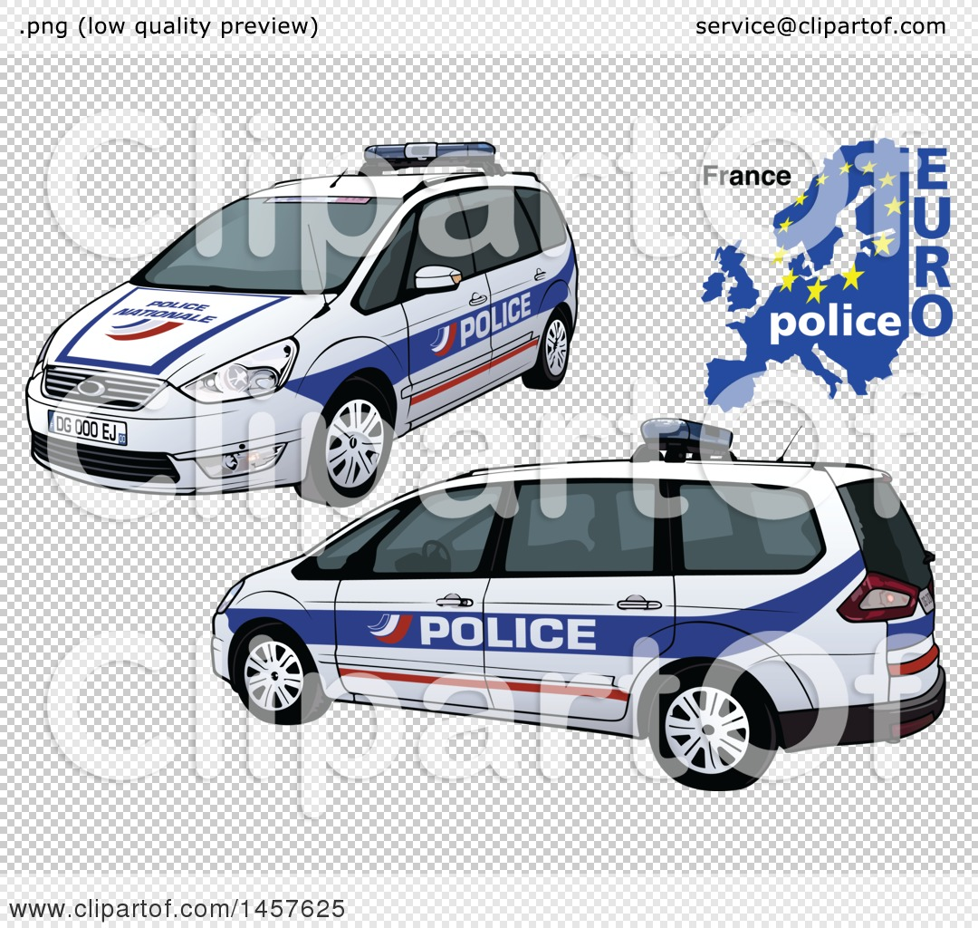 Clipart Of A French Police Car Shown From Two Different Angles