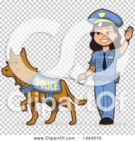 Clipart of a Friendly Asian Police Woman Walking a K 9 Police Dog ...