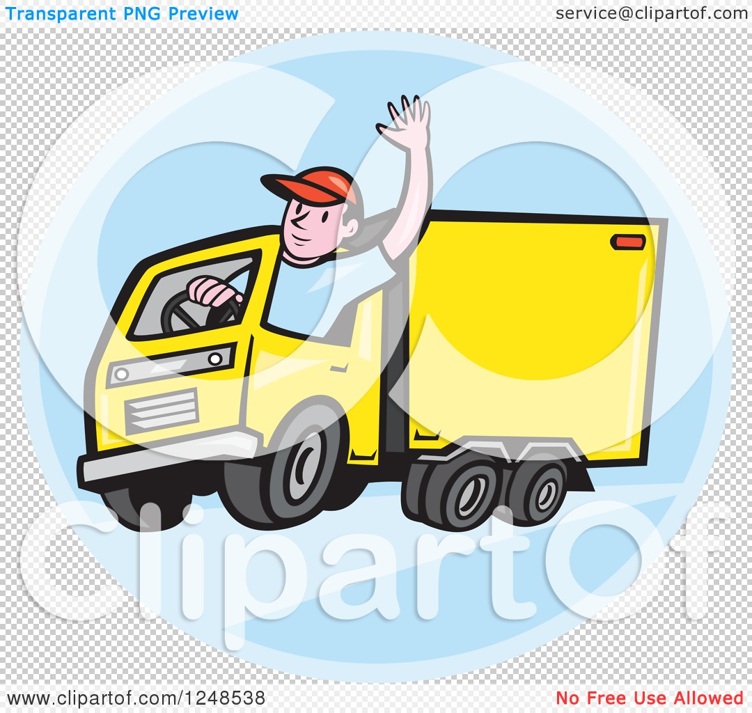 Clipart of a Friendly Cartoon Delivery Truck Driver Waving in a ...