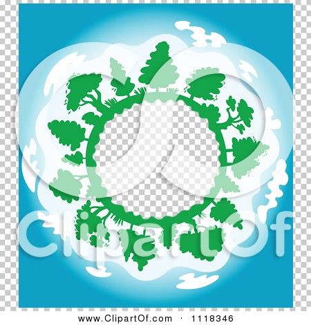 Clipart Of A Globe Frame With Trees And Blue Skies - Royalty Free ...