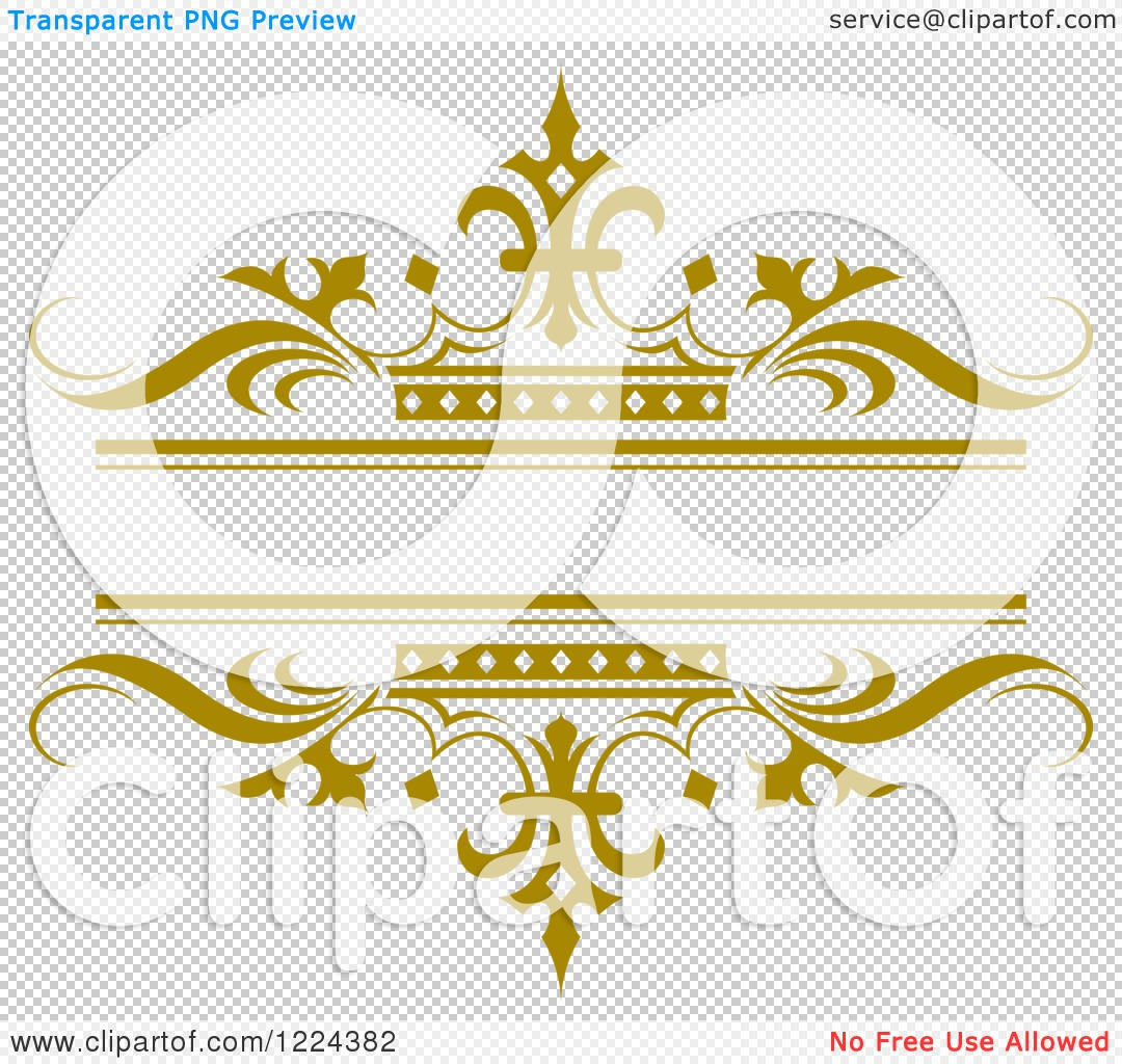 Clipart of a Gold Crown and Wave Wedding Frame - Royalty