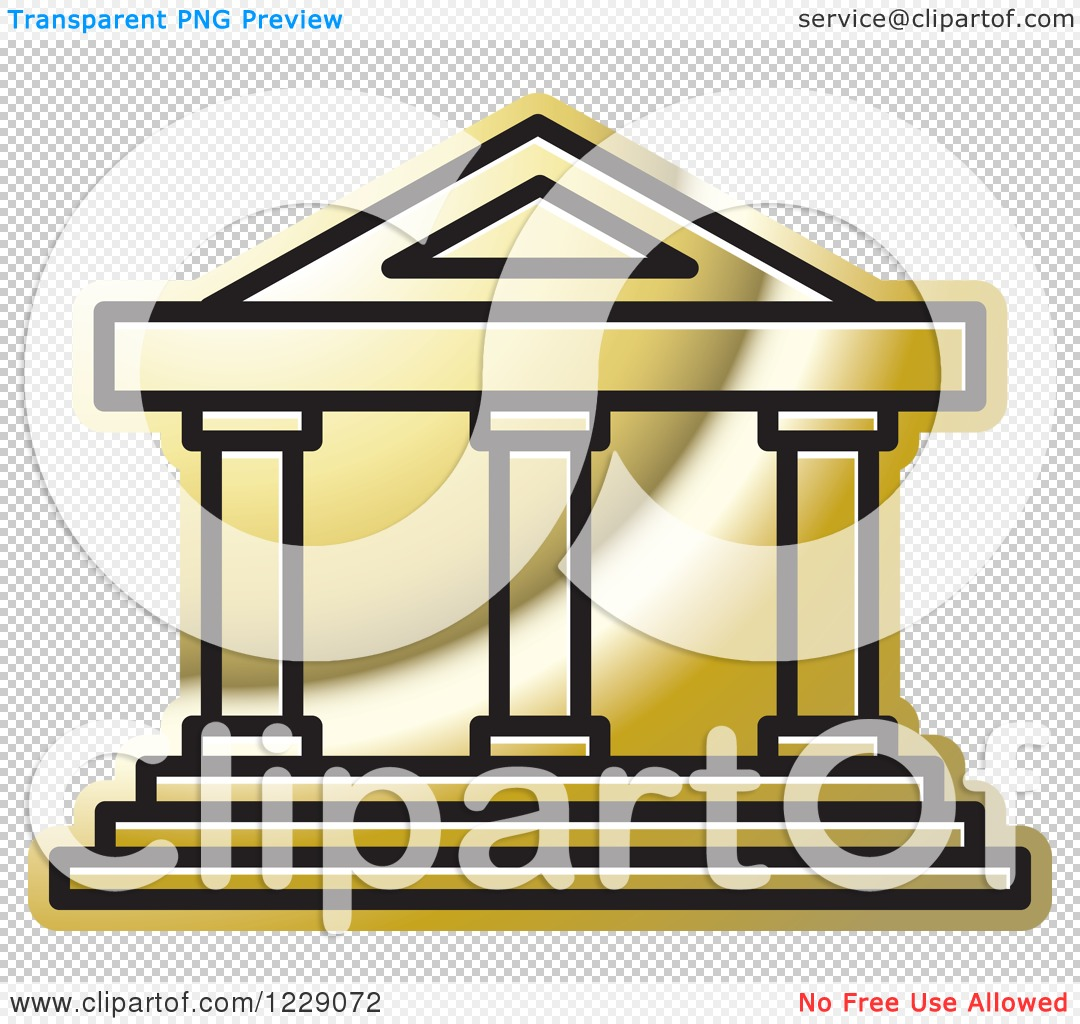 Clipart of a Golden Court House Building Icon - Royalty Free ...