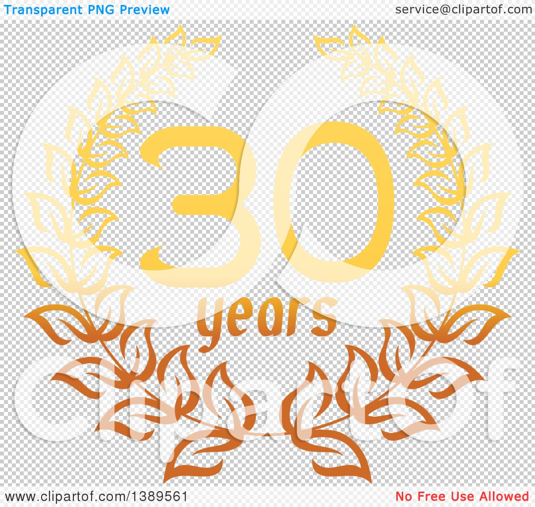 Clipart of a Gradient Gold 30 Year Anniversary Wreath Design ...