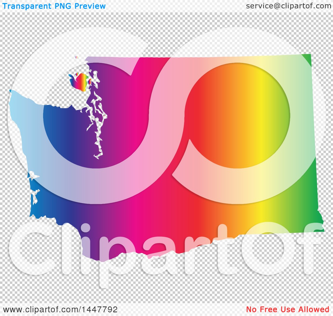 Clipart Of A Gradient Rainbow Map Of Washington United States Of - Us vector map on transparent back