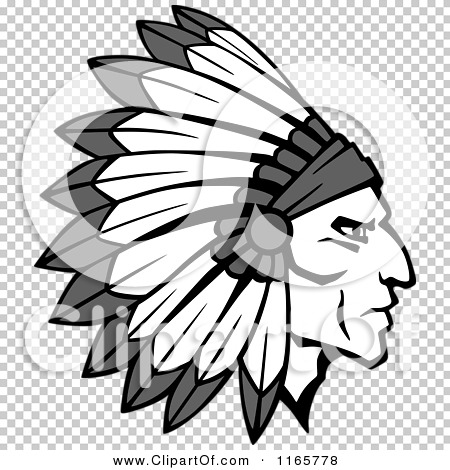 Clipart of a Grayscale Native American Brave with a Feather ...