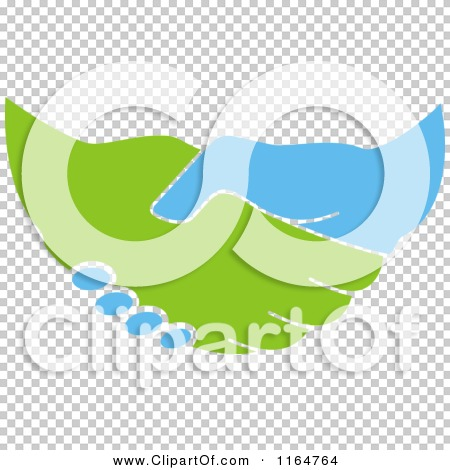 Clipart of a Green and Blue Handshake 2 - Royalty Free Vector ...