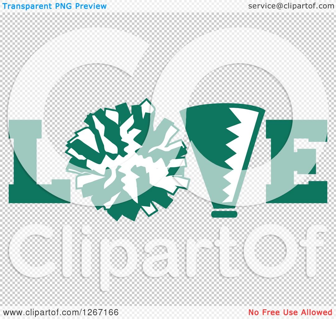 Clipart of a Green and White Megaphone and Cheerleading Pom Pom in ...