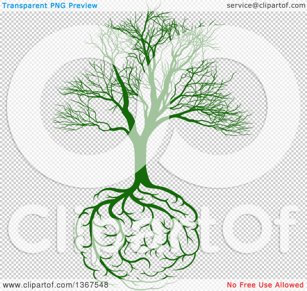Clipart of a Green Bare Tree with Brain Roots - Royalty Free Vector ...