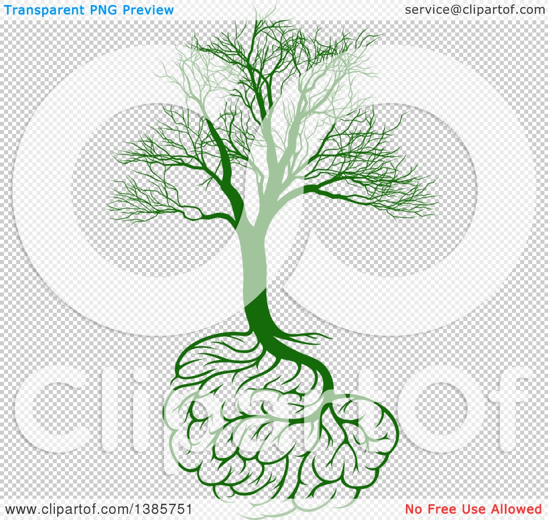 Clipart of a Green Bare Tree with Brain Roots, Symbolizing Memory ...