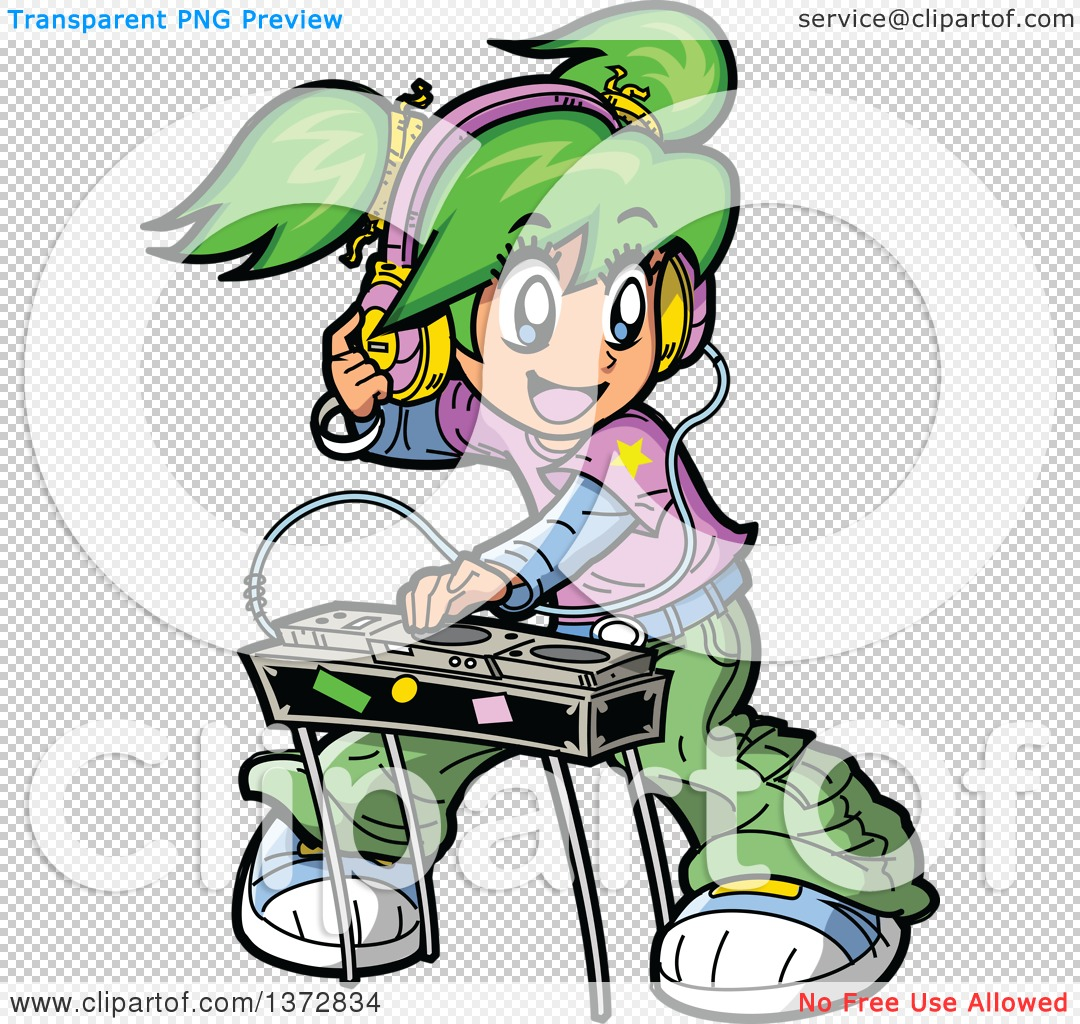 Clipart Of A Green Haired White Manga Girl DJ Mixing Records ...