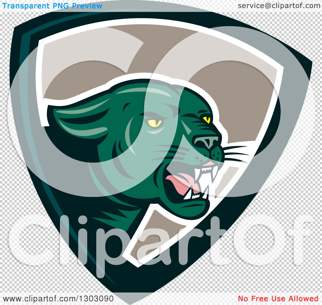 Black Jaguar Growl: Clipart Of A Growling Green Black Panther Cat In A Shield