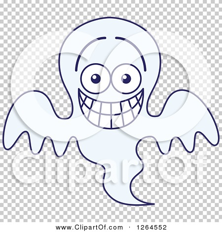 Clipart of a Halloween Ghost Grinning from Embarrassment - Royalty ...