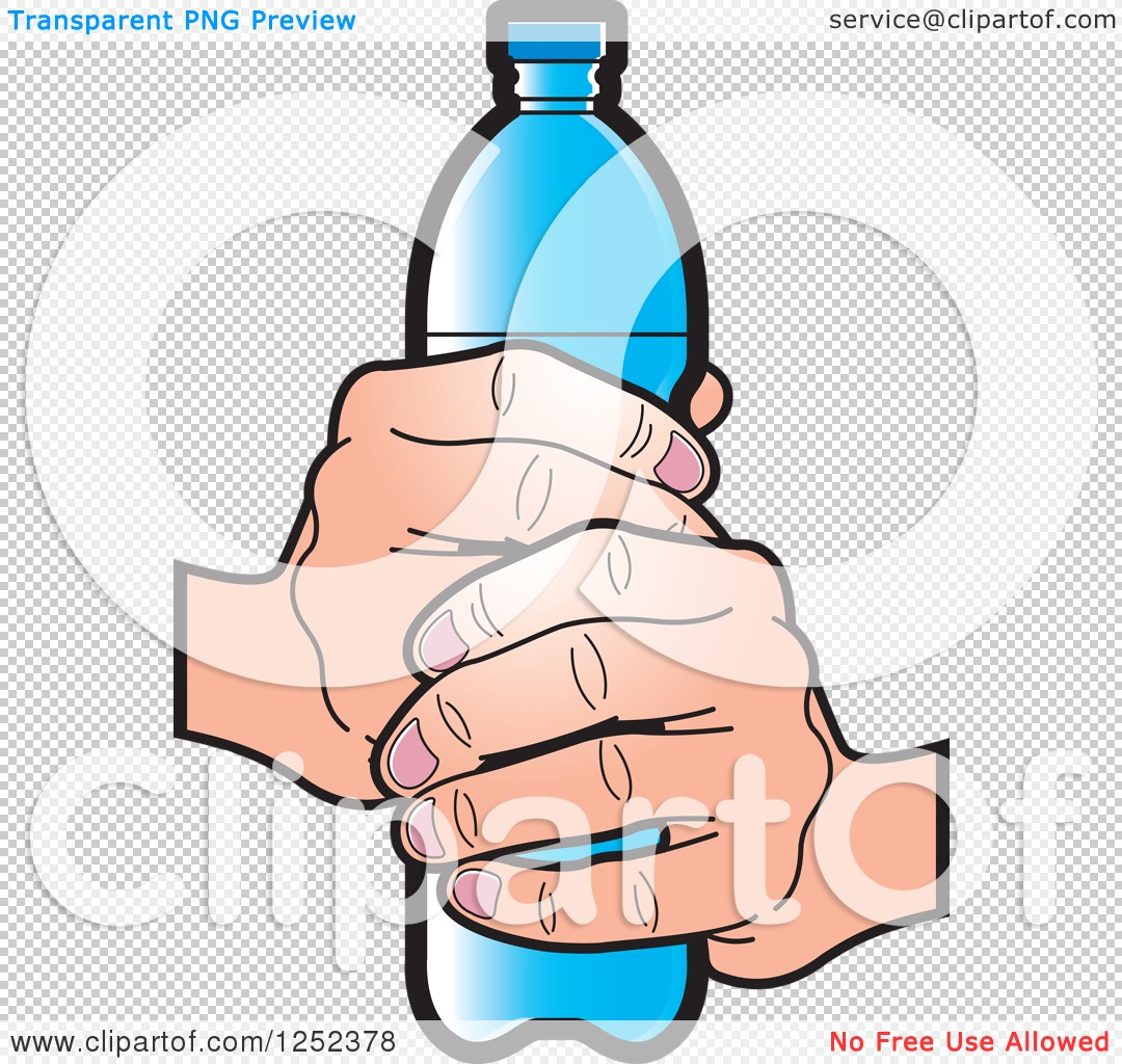 Clipart of a Hand Holding a Blue Water Bottle - Royalty Free ...