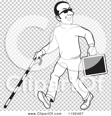 Clipart of a Happy Black and White Blind Man with a Cane and ...