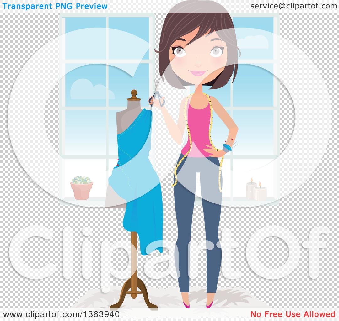Clipart of a Happy Brunette Caucasian Female Fashion Designer ...