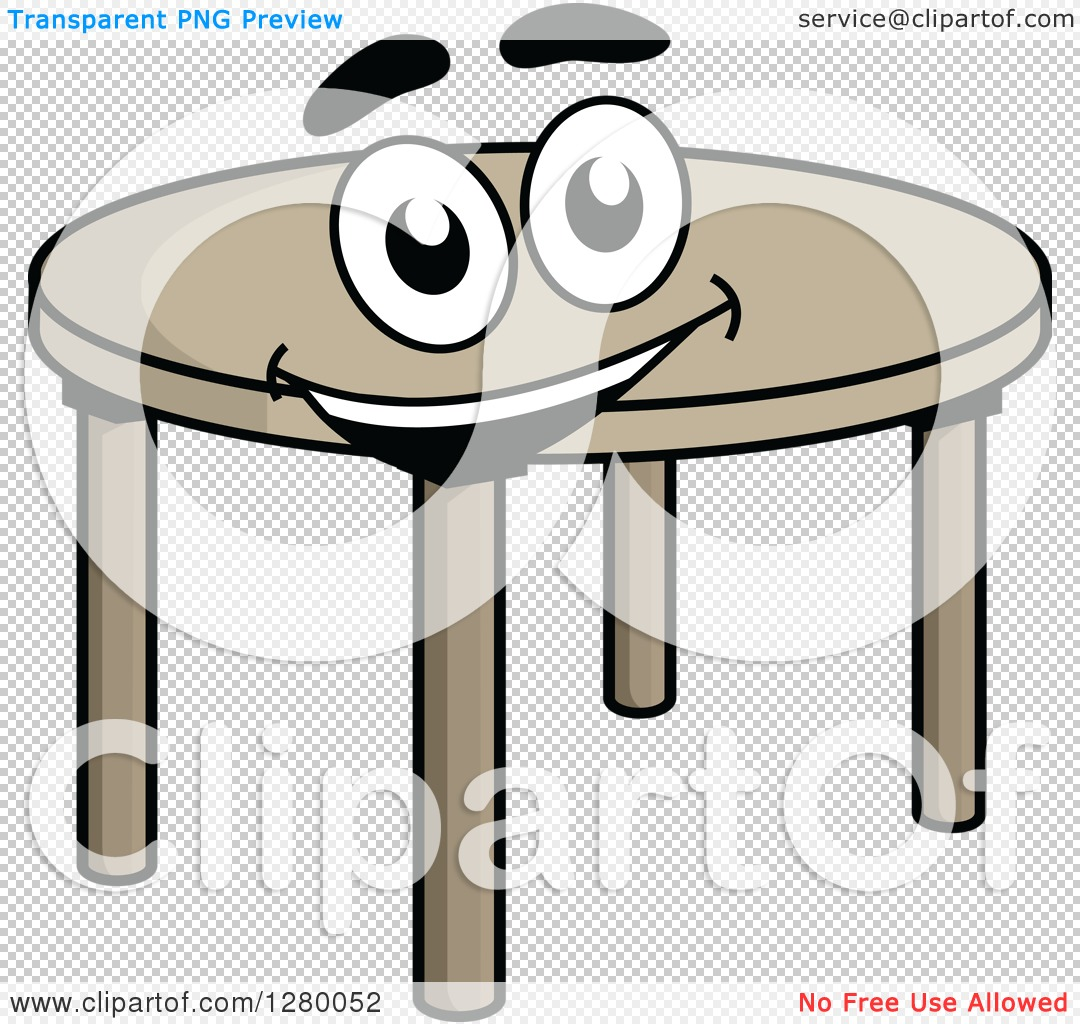 Clipart Of A Happy Cartoon Round Table Royalty Free Vector - Round table clip art