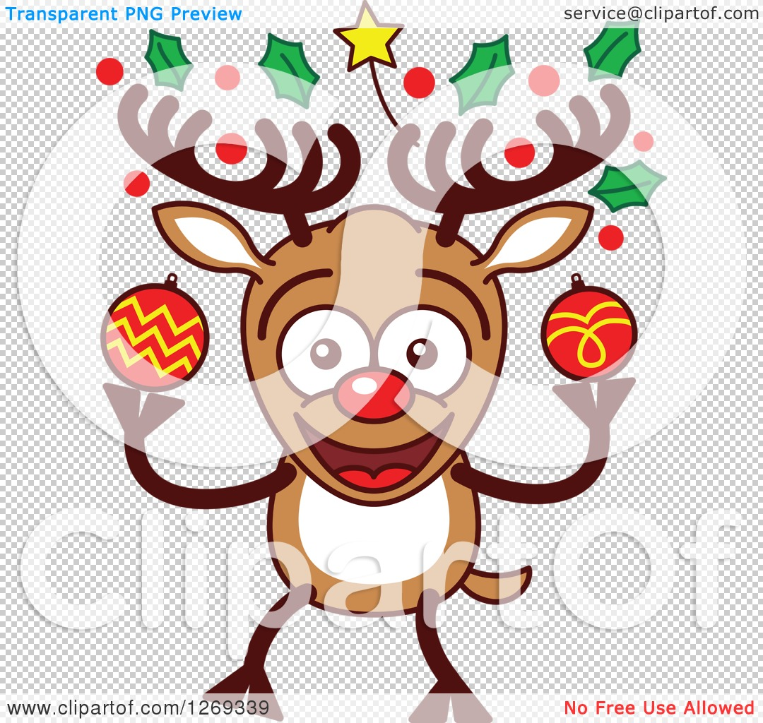 Clipart of a Happy Christmas Rudolph Reindeer with Decorated ...