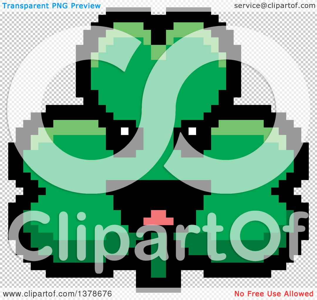 clipart of a happy clover shamrock character in 8 bit style