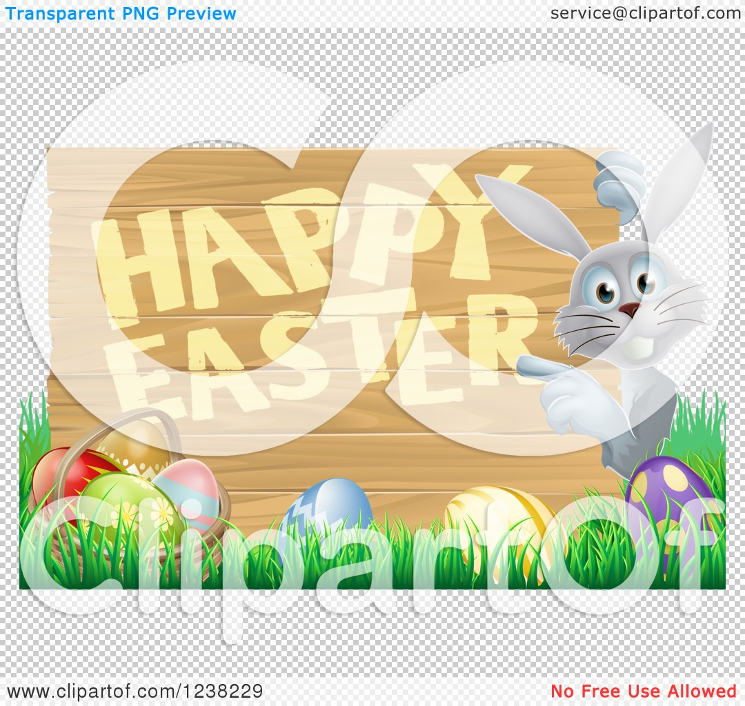 Clipart of a Happy Easter Sign with a Rabbit Grass and Eggs ...