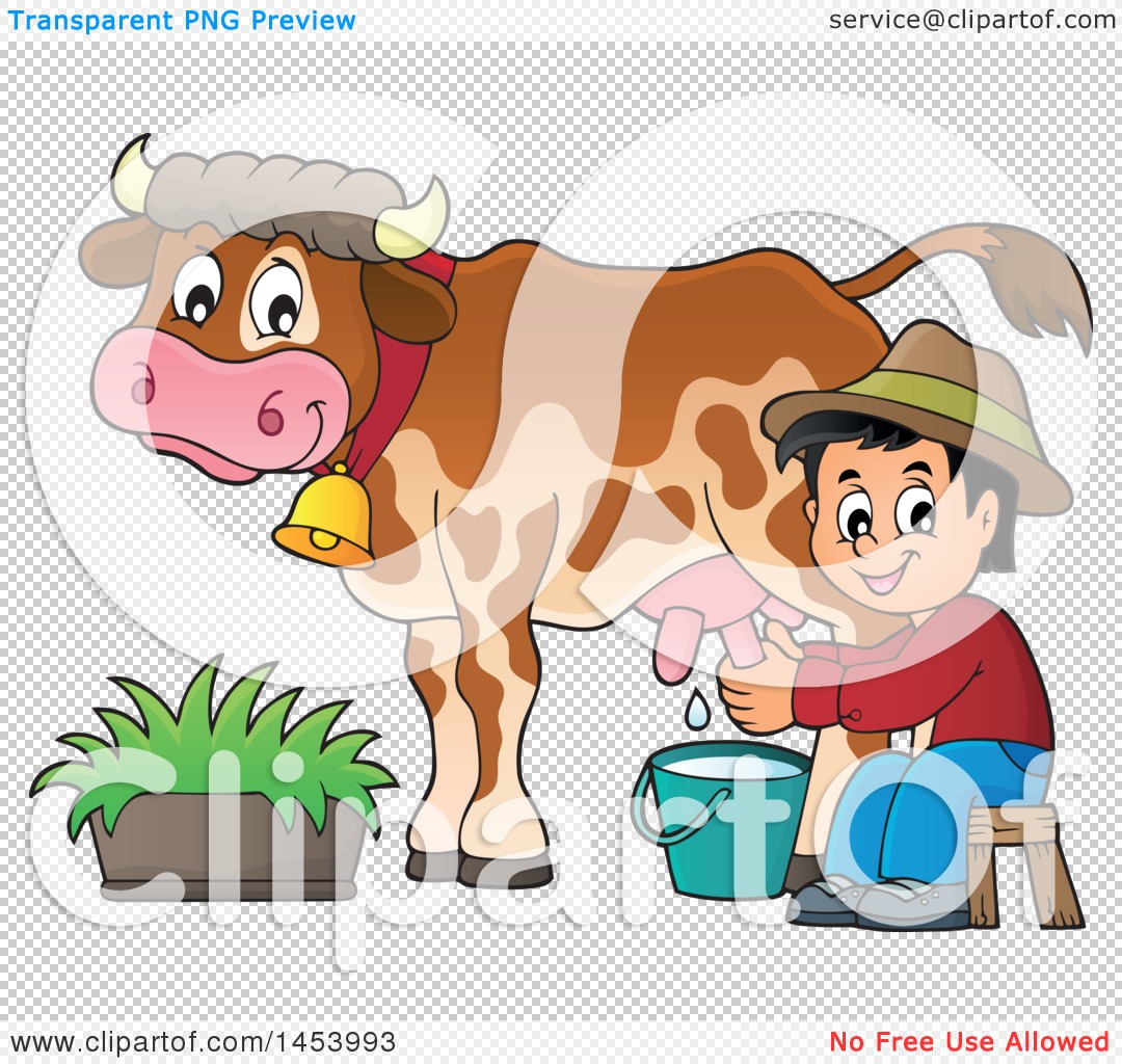 Clipart of a Happy Farmer Boy Milking a Cow - Royalty Free Vector ...