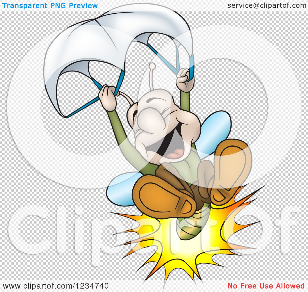 Clipart of a Happy Firefly Lightning Bug Parachuting - Royalty ...