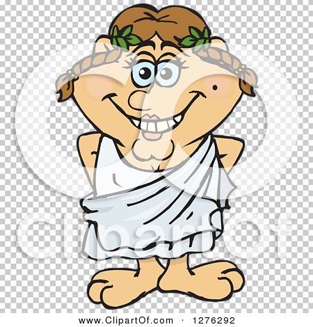 Clipart of a Happy Greek Woman in a Toga - Royalty Free Vector ...