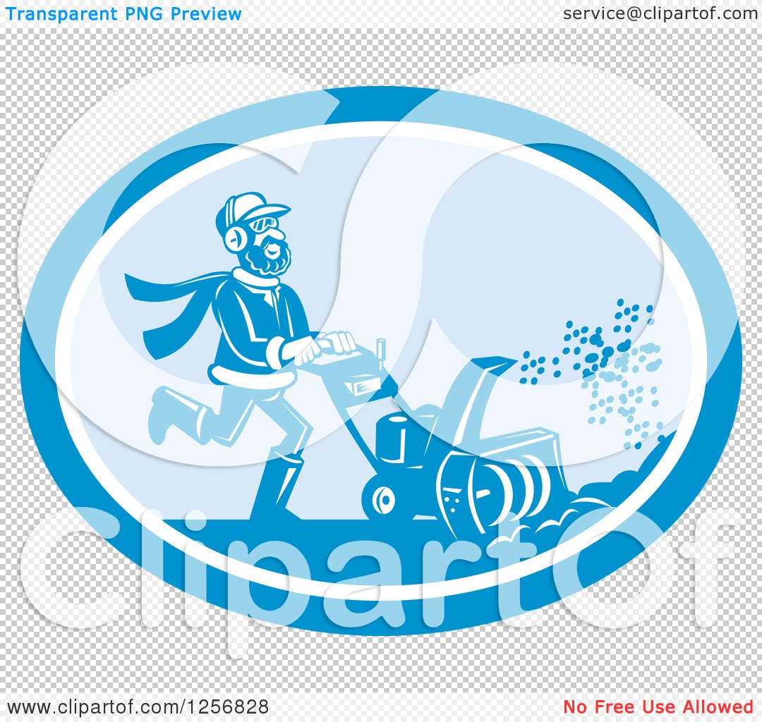 Clipart of a Happy Man Operating a Snow Blower in a Blue Oval ...