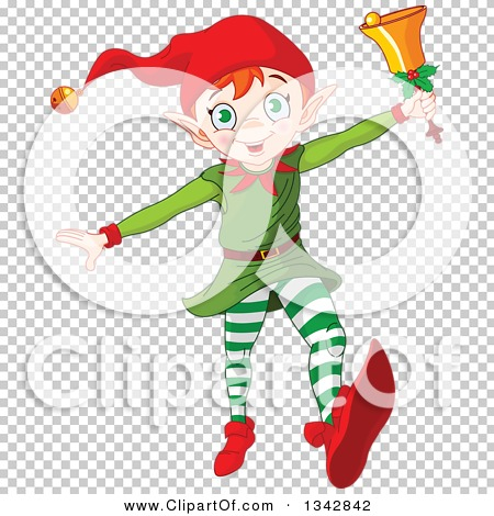 Clipart of a Happy White Male Christmas Elf Running with a Bell ...