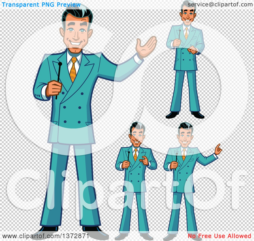 Clipart Of A Happy White Male Game Show Host In Different Poses ...